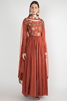 Rust Embroidered Anarkali With Dupatta by Natasha J