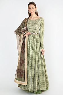 Sage Green Printed Anarkali With Dupatta & Belt by Natasha J