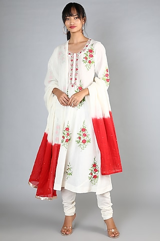White Machine Embroidered A-Line Long Kurta Set by Nazar By Indu