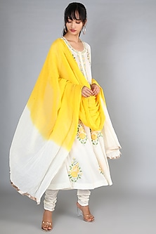 White Machine Embroidered A-Line Kurta Set by Nazar By Indu-POPULAR PRODUCTS AT STORE