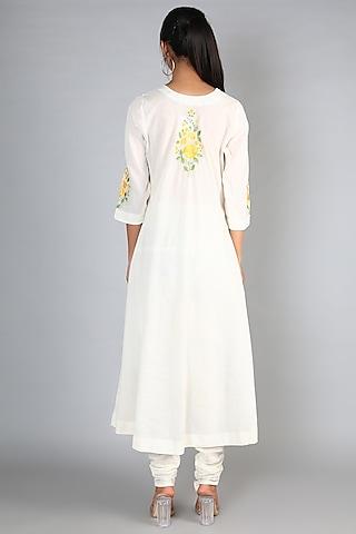 White Machine Embroidered A-Line Kurta Set by Nazar By Indu