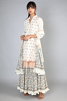 White Block Printed & Machine Embroidered Gharara Set by Nazar By Indu-POPULAR PRODUCTS AT STORE