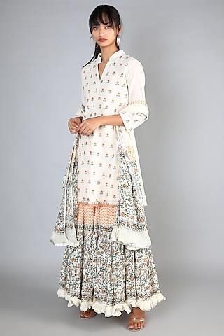 White Block Printed & Machine Embroidered Gharara Set by Nazar By Indu