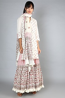 White Block Printed & Embroidered Gharara Set by Nazar By Indu-POPULAR PRODUCTS AT STORE