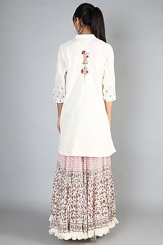 White Block Printed & Embroidered Gharara Set by Nazar By Indu