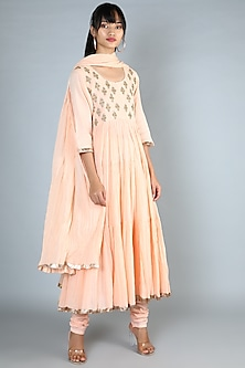 Peach Embroidered Long Kurta Set by Nazar By Indu-POPULAR PRODUCTS AT STORE