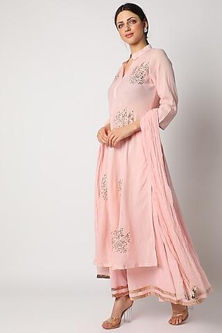 Pink Sharara Set With Mukaish Work by Nazar By Indu