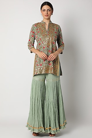Mint Green Printed Gharara Set by Nazar By Indu
