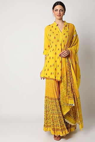 Yellow Printed & Embroidered Gharara Set  by Nazar By Indu