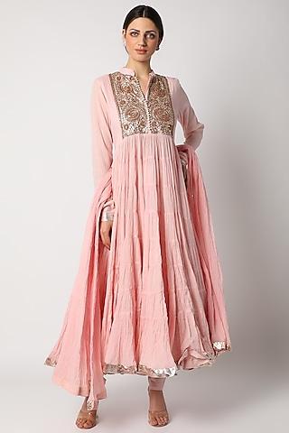 Pink Printed Kurta Set by Nazar By Indu