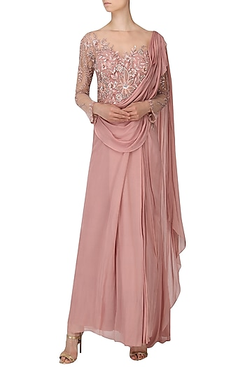 Rose Embroidered Drape Saree by Naffs