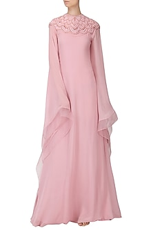 Pastel Pink Embroidered Kaftan Drape Gown by Naffs
