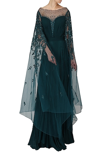 Teal Green Embroidered Drape Gown by Naffs