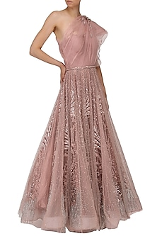 Rose Embroidered One Shoulder Drape Gown by Naffs