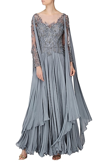 Grey Embroidered Drape Gown by Naffs