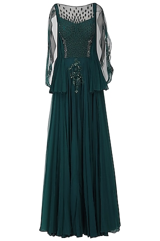 Teal Green Embroidered Peplum Gown by Naffs
