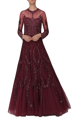 Windsor Wine Embroidered Gown by Naffs