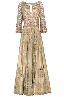 Champagne Gold Embroidered Gown by Naffs