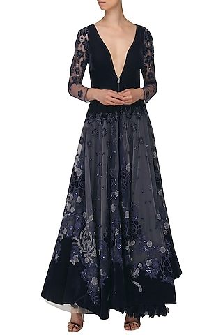 Navy Blue Embroidered Skirt, Blouse and Jacket Set by Naffs
