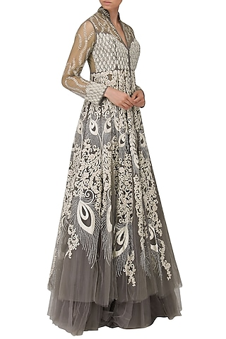 Grey and Ivory Embroidered Front Open Long Jacket and Skirt Set by Naffs