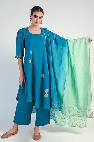 Teal Embroidered Kurta Set by Naina Arunima