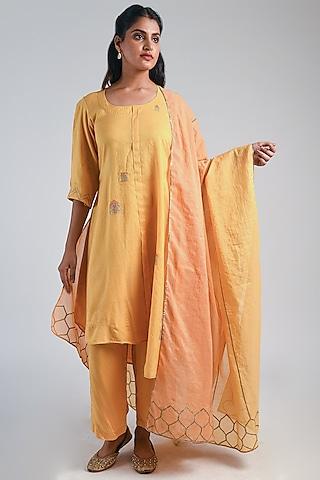 Yellow Embroidered Kurta Set by Naina Arunima