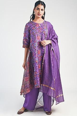 Amethyst Printed Layered Kurta Set by Naina Arunima