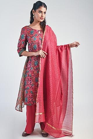 Crimson Printed Layered Kurta Set by Naina Arunima
