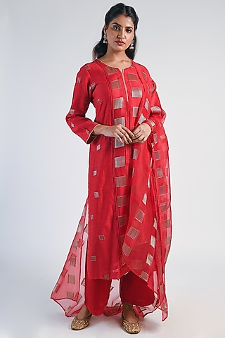 Scarlet Red Embroidered Anarkali Set by Naina Arunima