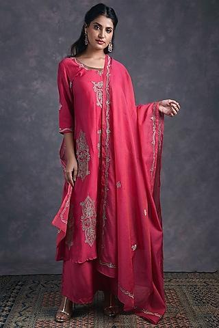 Rose Pink Embroidered Kurta Set by Naina Arunima