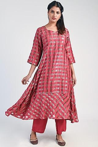 Earth Red Silk Zari Kurta With Pants by Naina Arunima