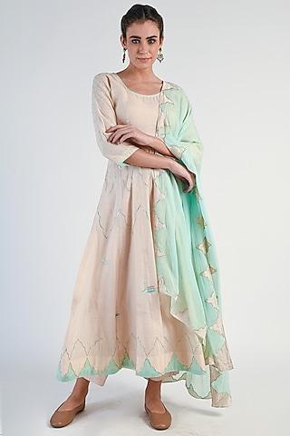 Almond & Mint Green Embroidered Anarkali Set by Naina Arunima
