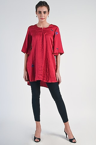 Red Sequins Embroidered Tunic by Naina Arunima