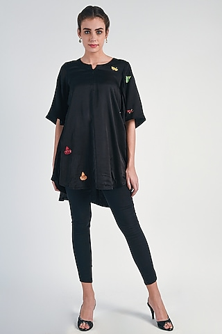 Black Sequins Embroidered Tunic by Naina Arunima