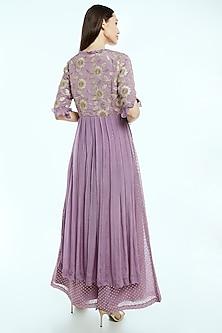Lilac Embroidered Kurta With Printed Farshi Pants by NIsha Ajmera