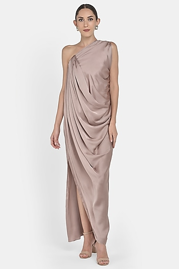 Nude One Shoulder Draped Gown by Na-ka
