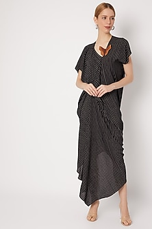 Black Draped Dress With Stripes by Na-ka-POPULAR PRODUCTS AT STORE