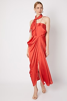 Rich Burnt Orange Cowl Dress by Na-ka-POPULAR PRODUCTS AT STORE