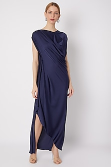Navy Blue Draped Gown by Na-ka-POPULAR PRODUCTS AT STORE