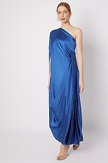 Cobalt Blue One Shoulder Draped Gown by Na-ka-POPULAR PRODUCTS AT STORE
