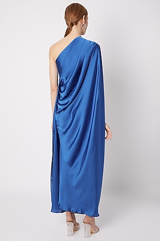 Cobalt Blue One Shoulder Draped Gown by Na-ka