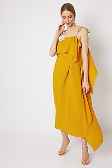 Mustard Embroidered Tea-Length Dress by Na-ka-POPULAR PRODUCTS AT STORE
