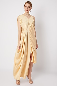 Lime Yellow Dress With Asymmetric Neckline by Na-ka-POPULAR PRODUCTS AT STORE