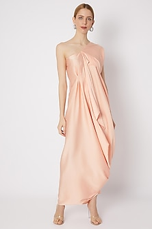 Peach Draped Dress With Asymmetric Neckline by Na-ka-POPULAR PRODUCTS AT STORE