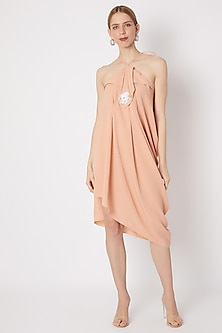 Light Peach Dress With Origami Flap Neckline by Na-ka-POPULAR PRODUCTS AT STORE