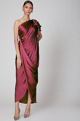 Wine Off Shoulder Dress by Na-Ka