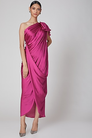 Hot Pink One Shoulder Draped Dress by Na-Ka