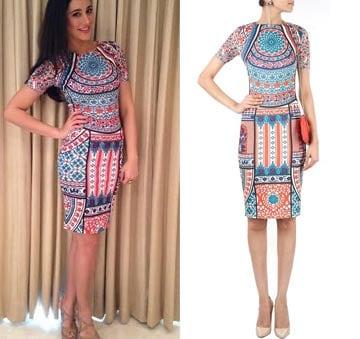 Multicolour printed bodycon dress by Pankaj and Nidhi