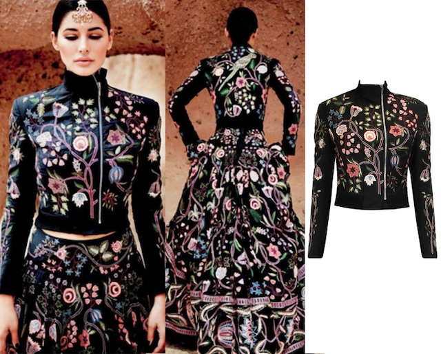 Black embroidered chintz bomber floral jacket by Rahul Mishra