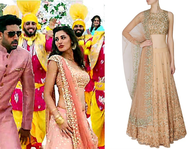 Peach And Gold Thread And Sequins Floral Work Lehenga Set by Astha Narang